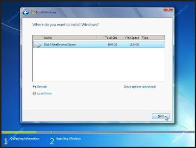 choose windows 7 installation partition
