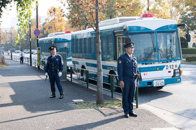 Police provide security for Trump's visit, Akasaka State Guest House, Tokyo.