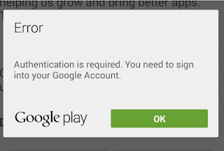 "Cara Memperbaiki Pesan Error  ""Google Play Authentication is Required"""