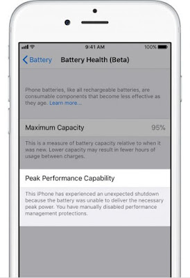 3 How to check the status of the battery and to disable the restriction of performance in iOS 11.3 Apple