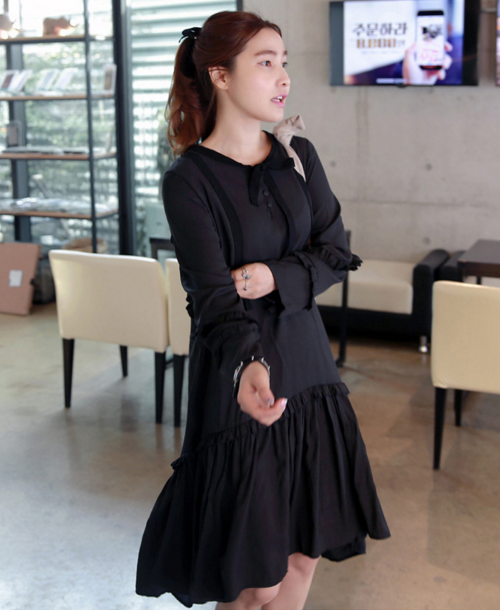 Black Ruffle Detailed Tie-Neck Dress
