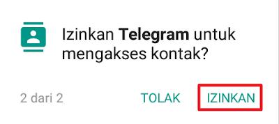 Izinkan Telegram untuk mengakses kontak?