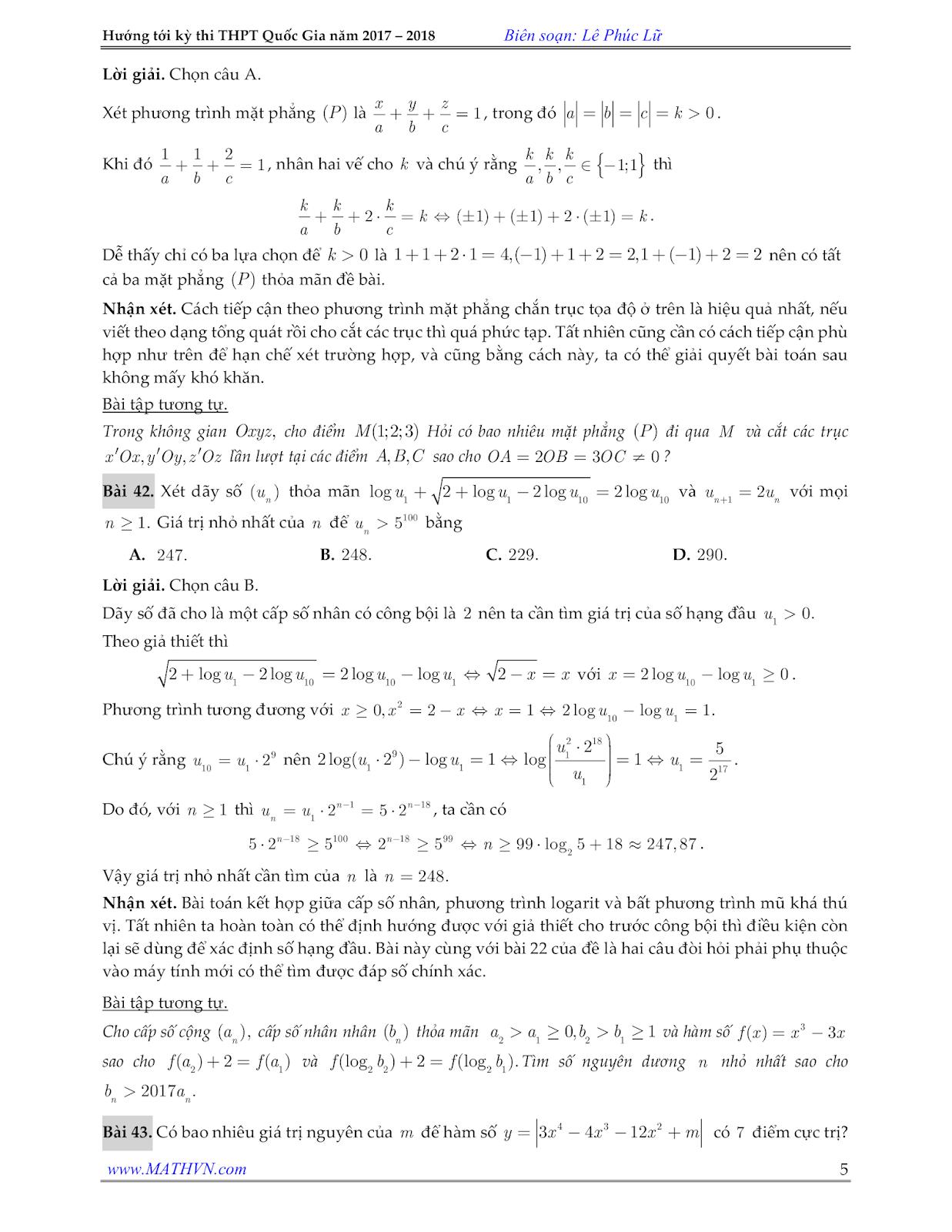 de minh hoa toan nam 2018, lời giải đề minh họa môn toán 2018
