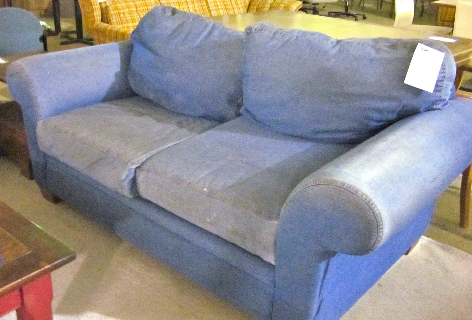 Blue Jean Stain On Sofa Jual Bed Lipat Jakarta Denim And Loveseat Sofas Queen Sleeper