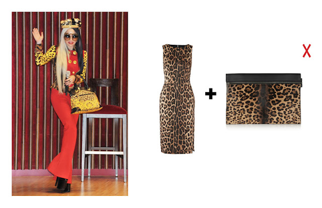 Сочетание платья и сумки с леопардовым принтом