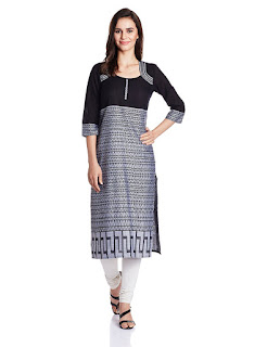 Rs. 539 Aurelia  Blue Kurta Three Qarter Sleeve Round Neck Ankle Length Cotton Blue Kurta from fashiondiya