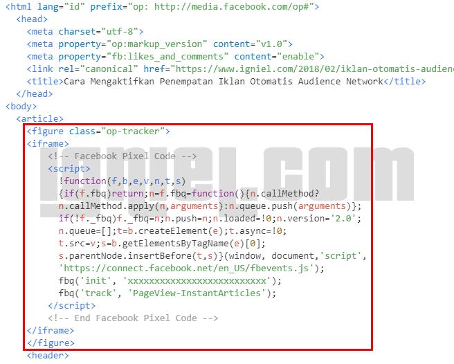 Cara Pasang Script Kode Tracking Pixel FB Ads Di Instant Articles
