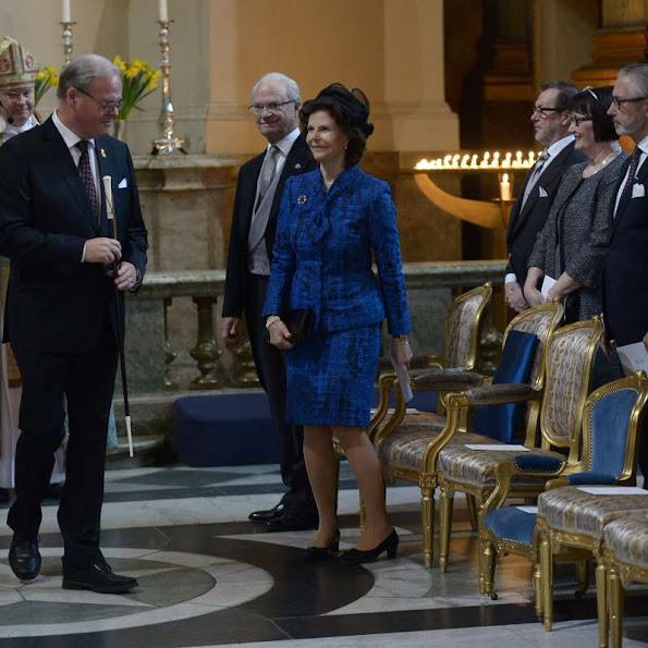 "King Carl Gustaf, Queen Silvia, Princess Madeleine, Christopher O'Neill, Prince Daniel, Princess Estelle, Prince Carl Philip and Princess Sofia attended the ""Te Deum"" church service at the Royal Chapel in Stockholm, Sweden"