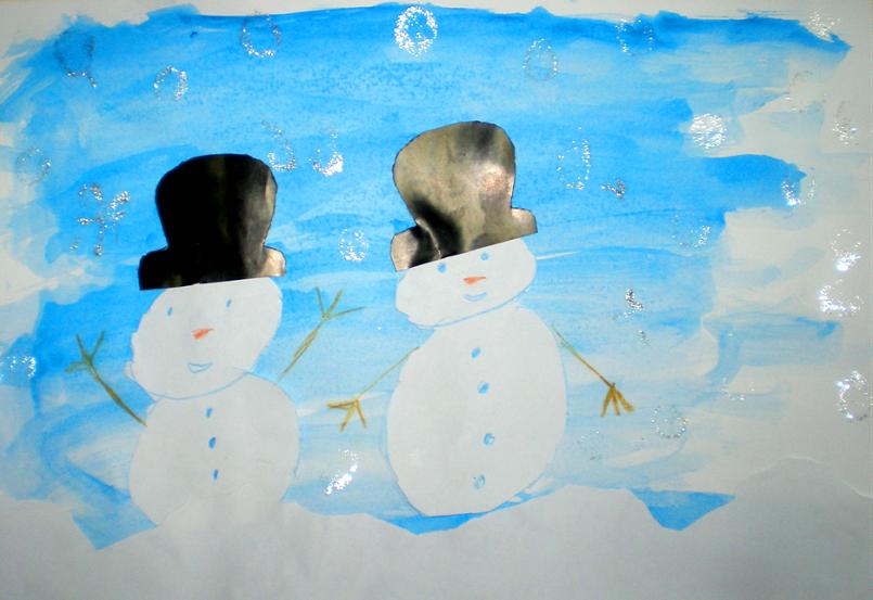 Omul de zăpadă, pictură, colaj, arte plastice , iarnă, ninsoare, zăpadă,