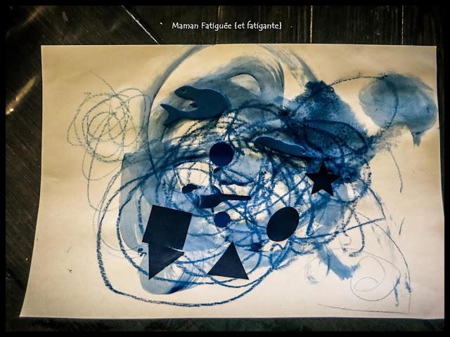 peinture collage bleu