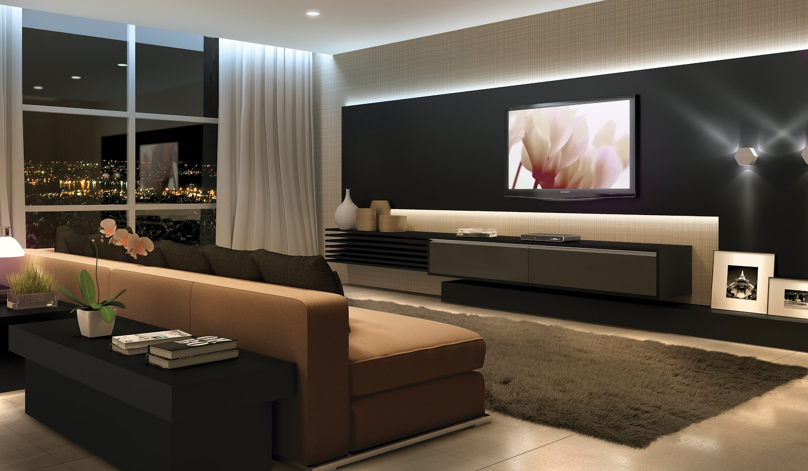 construindo minha casa clean sala de estar com tv modernas consultoria de decora o online 3d. Black Bedroom Furniture Sets. Home Design Ideas