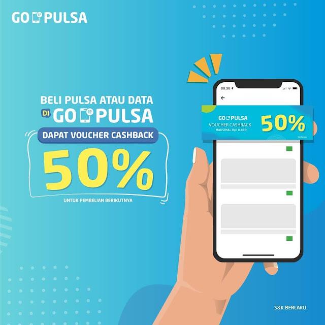 #GOPAY - #Promo Voucher Cashback 50% Beli Pulsa Atau Paket di GO-PULSA (s.d 30 April 2019)