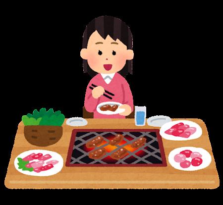 一人焼肉のイラスト(女性)