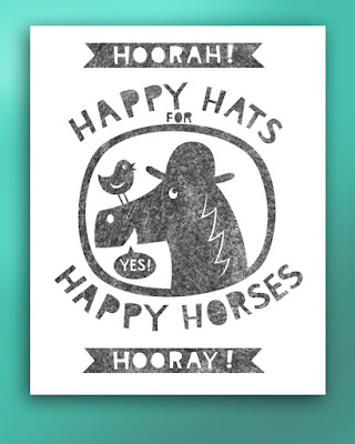 Picture of happy horse with hat on, and text, happy hats for happy horses