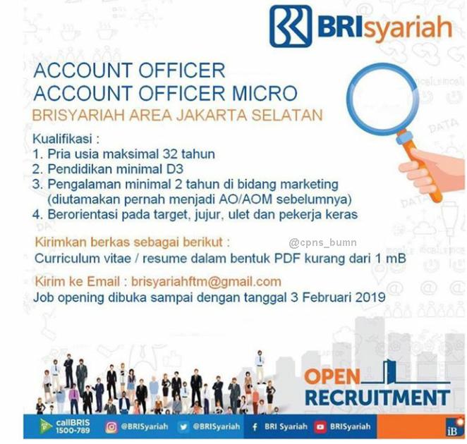 Rekrutment Terbaru Bank BRI Syariah Area Jakarta Selatan Februari 2019