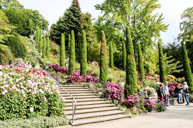 Treppe zwischen Blumengärten Insel Mainau, Bodensee