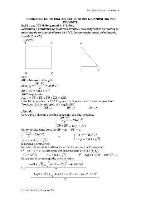 La matematica con Violeta: Problemi di Geometria