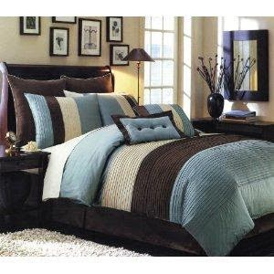 Dormitorio matrimonial azul marrón