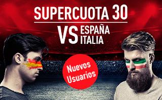 sportium Supercuota 30 España vs Italia + Bono 200 euros codigo JRVM