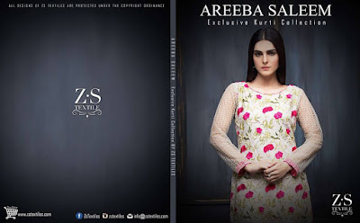 Areeba Saleem kurti collection 2017 by zs textiles