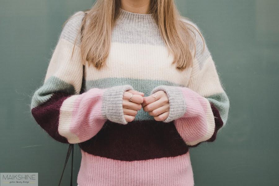 Outfit jersey lana rayas