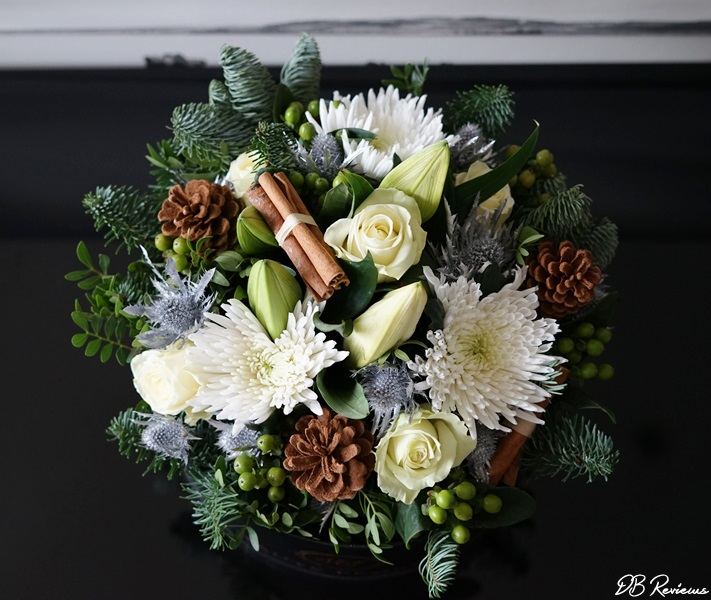 The Holiday hat box bouquet from Prestige Flowers