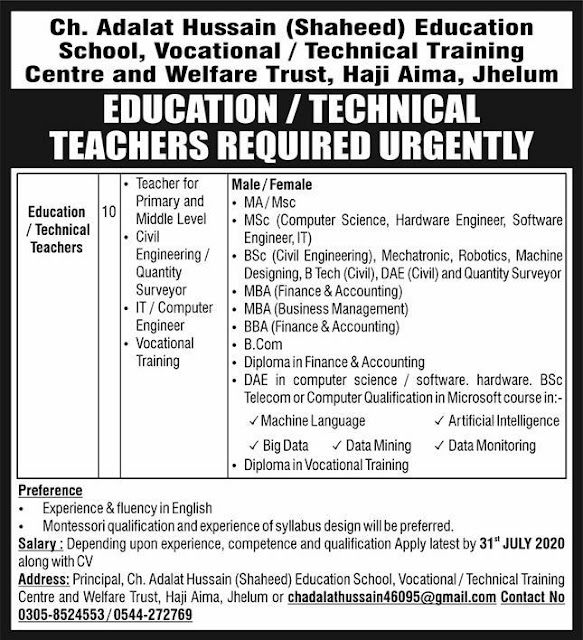 tevta-jobs-govt-of-punjab-jhelum-educational-technical-teacher-2020
