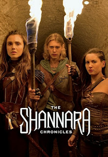 Poppy Drayton as Amberle Elessedil, Austin Butler as Wil Ohmsford, and Ivana Baquero as Eretria in The Shannara Chronicles