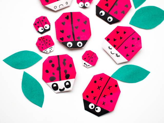 origami ladybug valentines with free printable pink