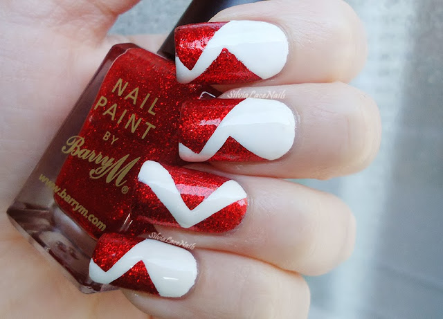 Christmas white and red glitter nails