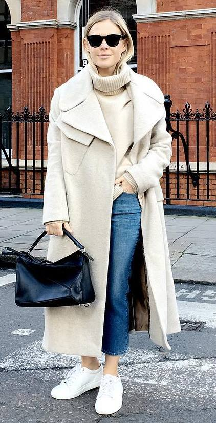 nude, black and denim: coat + top + bag + jeans