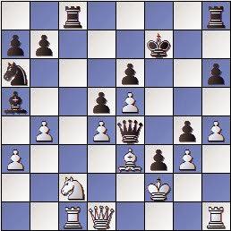 Final de la partida de ajedrez Martínez de Carvajal - Baquero, 1891, posición después de la jugada 23 del blanco