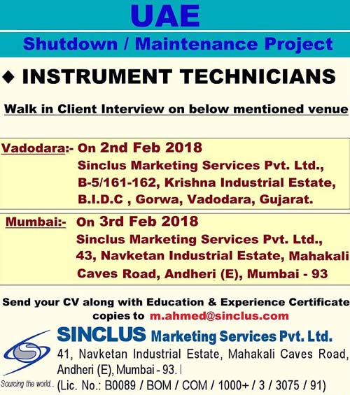Instrument Technician, Instrumentation Jobs, Jobs in UAE, Mumbai Interviews, Sinclus Jobs, Vadodara Interviews, Gulf Jobs Walk-in Interview,