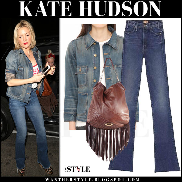 Kate Hudson in denim the great the barn jacket and denim mother hustler flared jeans what she wore causal style