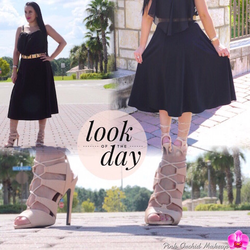 OOTD-A-Line-Skirt-Chiffon-Blouse-&-Nude-Lace-Up-Heels