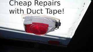 Trailer brake light repair with duct tape