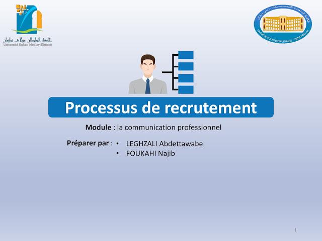 Présentation sur Le  Processus de recrutement