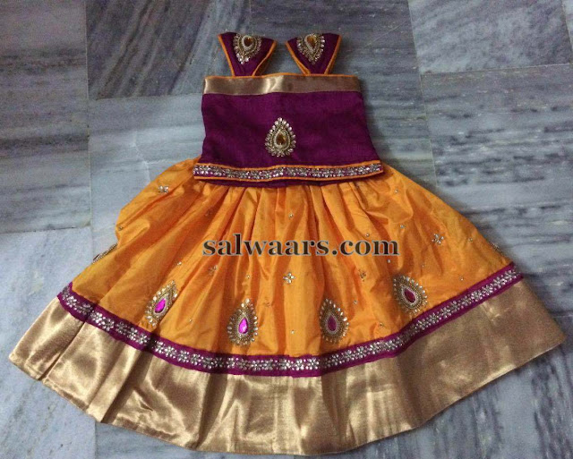 Mustard and Pink Silk Lehenga