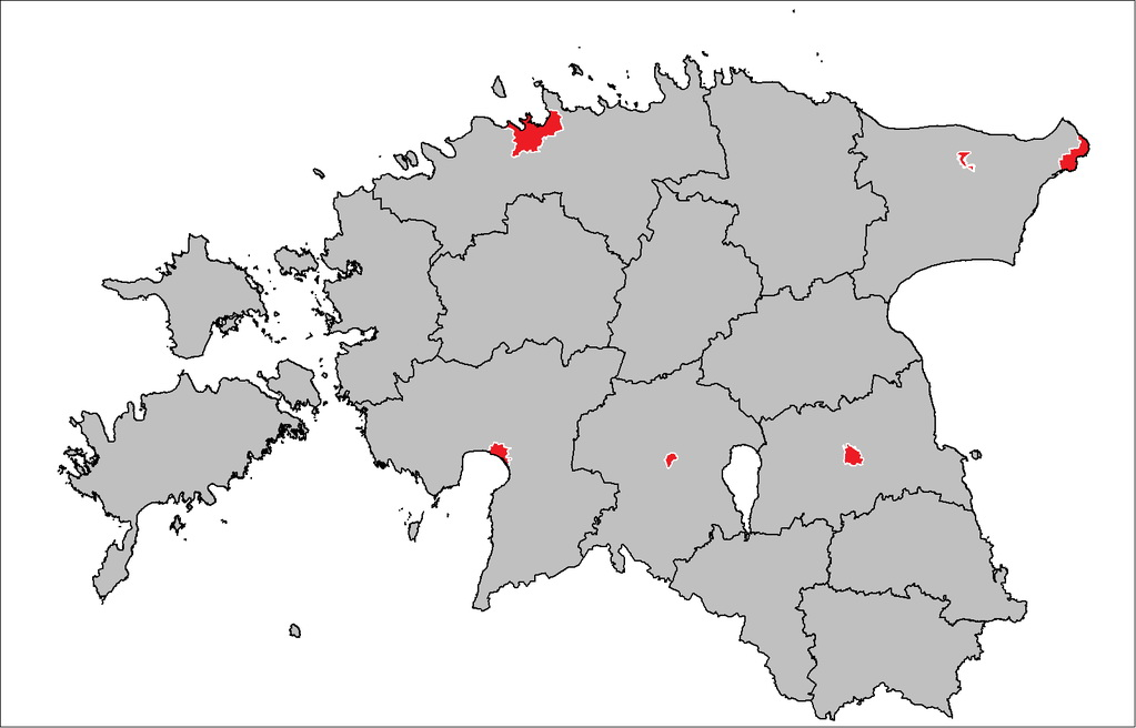 Half the population of Estonia lives within the red area