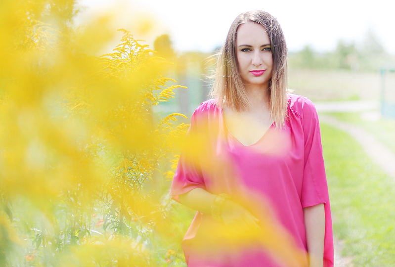 Różowa sukienka worek + ombre