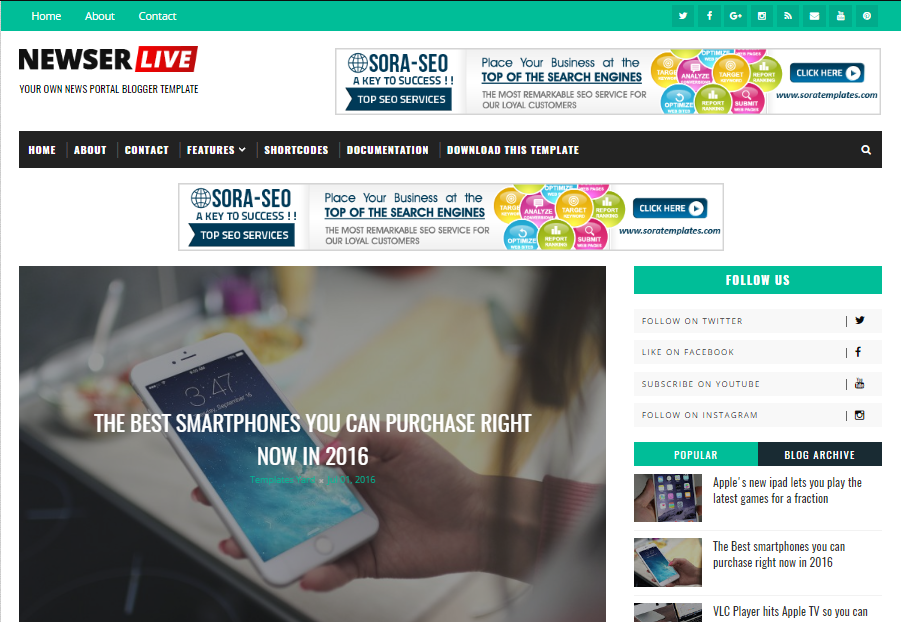 Newser Blogger Template | High Quality Free Blogger Templates