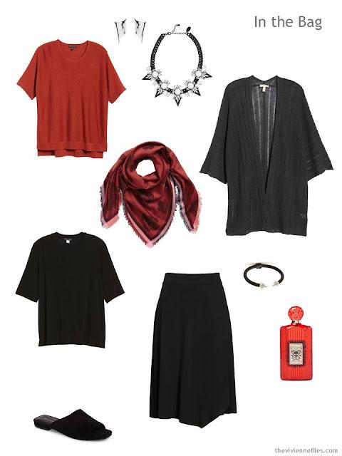 Tote Bag Travel capsule wardrobe in red, black and grey