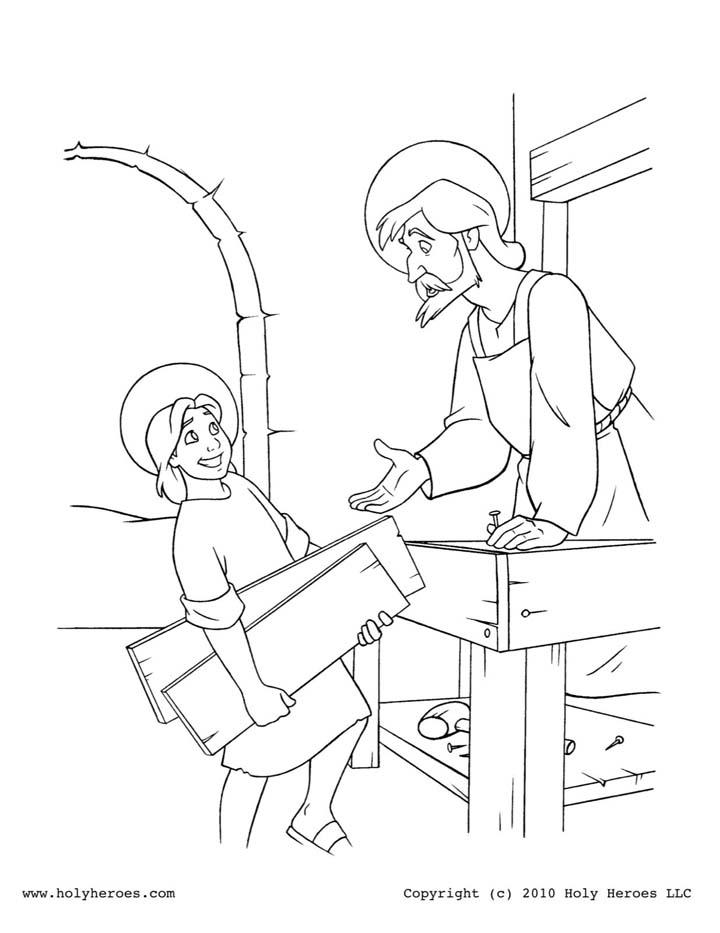 San José y Jesús en la carpintería