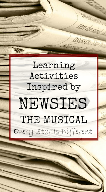 Learning activities inspired by Newsies the musical with free printable.