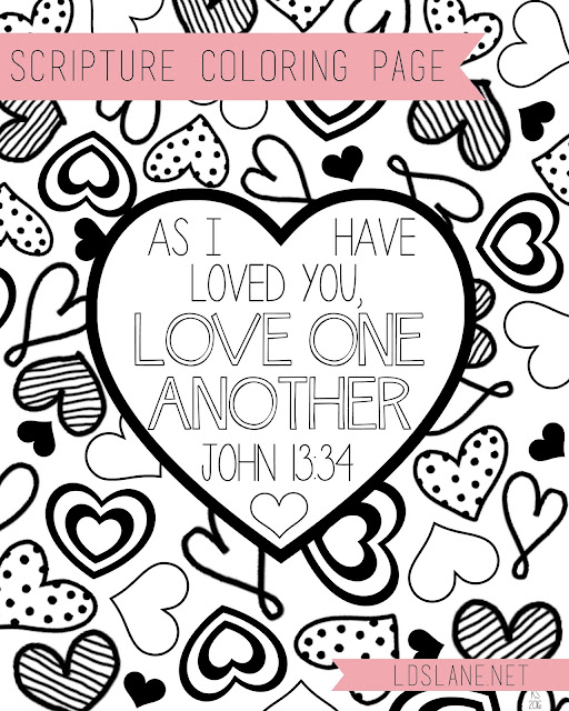 Scripture Coloring Page: Love One Another - free print at ldslane.net