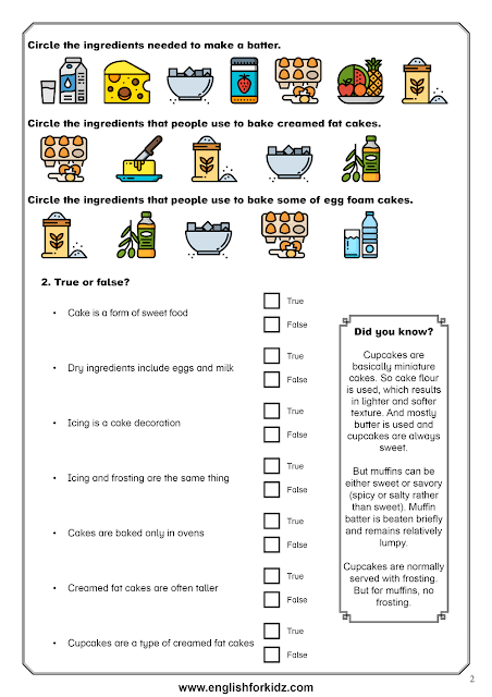 Reading comprehension worksheet dedicated to the topic of cooking food - baking cakes