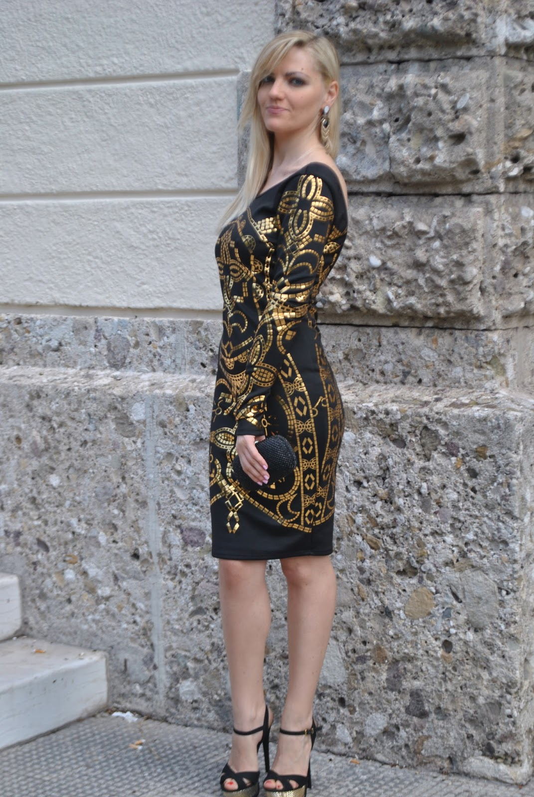 Color-Block By FelyM.: OUTFIT: BLACK AND GOLD PARTY DRESS