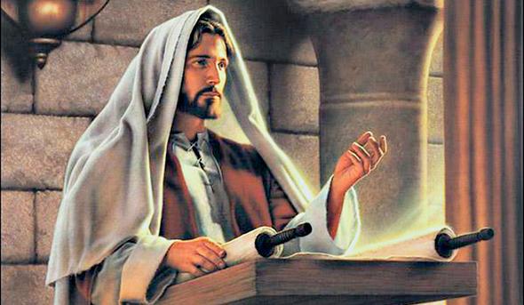 Jesucristo enseñando en la sinagoga con los rollos