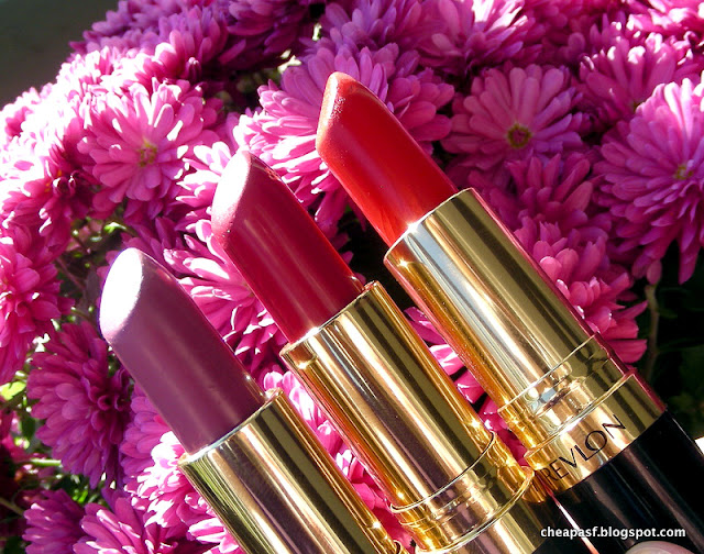 Review of Revlon Super Lustrous Lipsticks in Cherries in the Snow, Berry Haute, and Fire and Ice