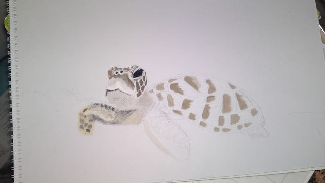Painting of Turtle 1 ongoing by Ellis Derkx